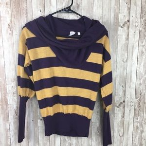 Billy Reid XS Purple Yellow Striped Sweater